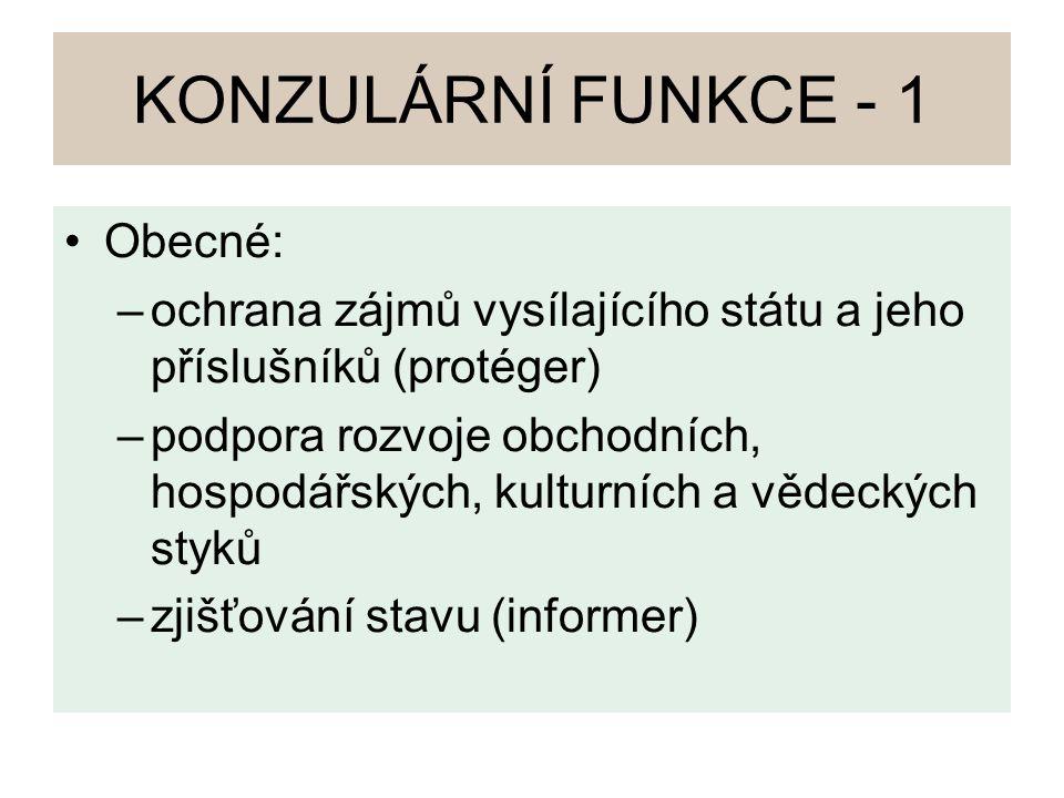 KONZULÁRNÍ FUNKCE - 1 Obecné: