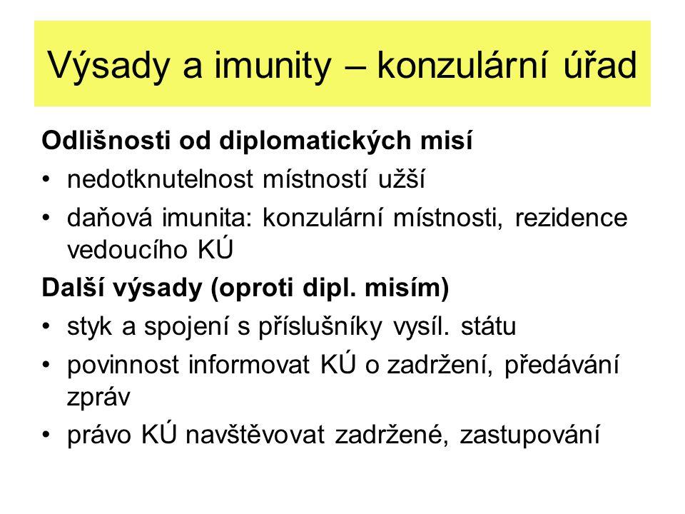 Výsady a imunity – konzulární úřad
