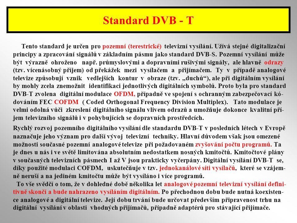 Standard DVB - T Tento standard je určen pro pozemní (terestrické) televizní vysílání. Užívá stejné digitalizační.