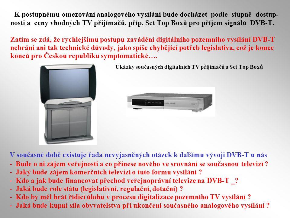 K postupnému omezování analogového vysílání bude docházet podle stupně dostup-