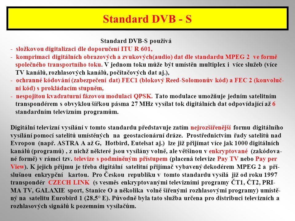 Standard DVB - S Standard DVB-S používá