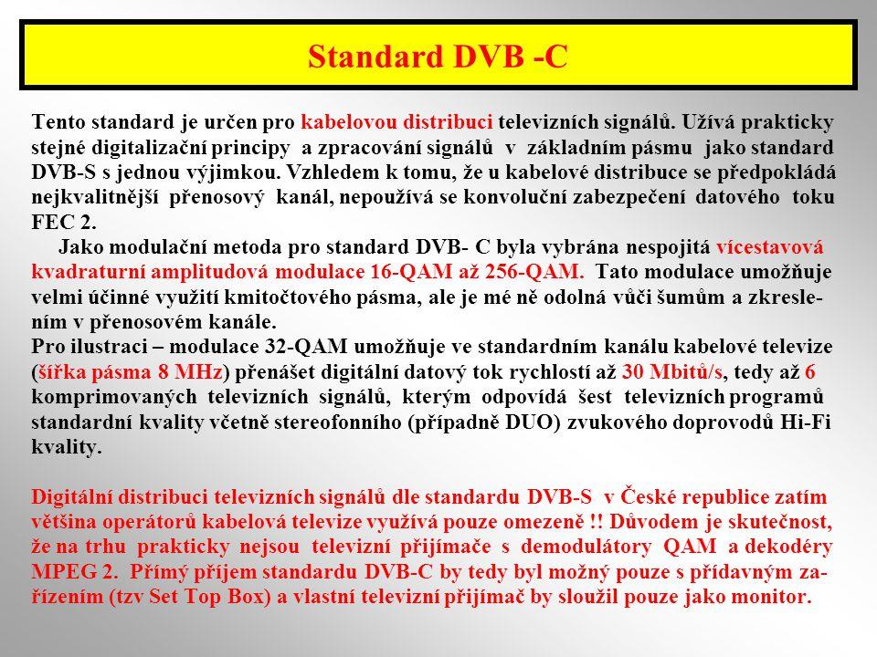 Standard DVB -C Tento standard je určen pro kabelovou distribuci televizních signálů. Užívá prakticky.