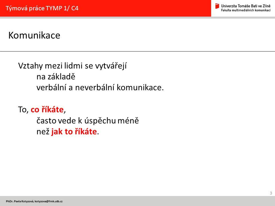 Týmová práce TYMP 1/ C4 Komunikace. Vztahy mezi lidmi se vytvářejí na základě verbální a neverbální komunikace.