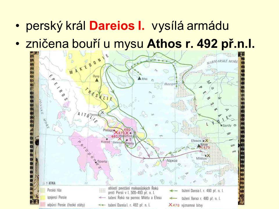 perský král Dareios I. vysílá armádu