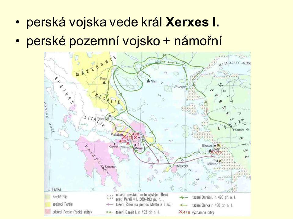 perská vojska vede král Xerxes I.