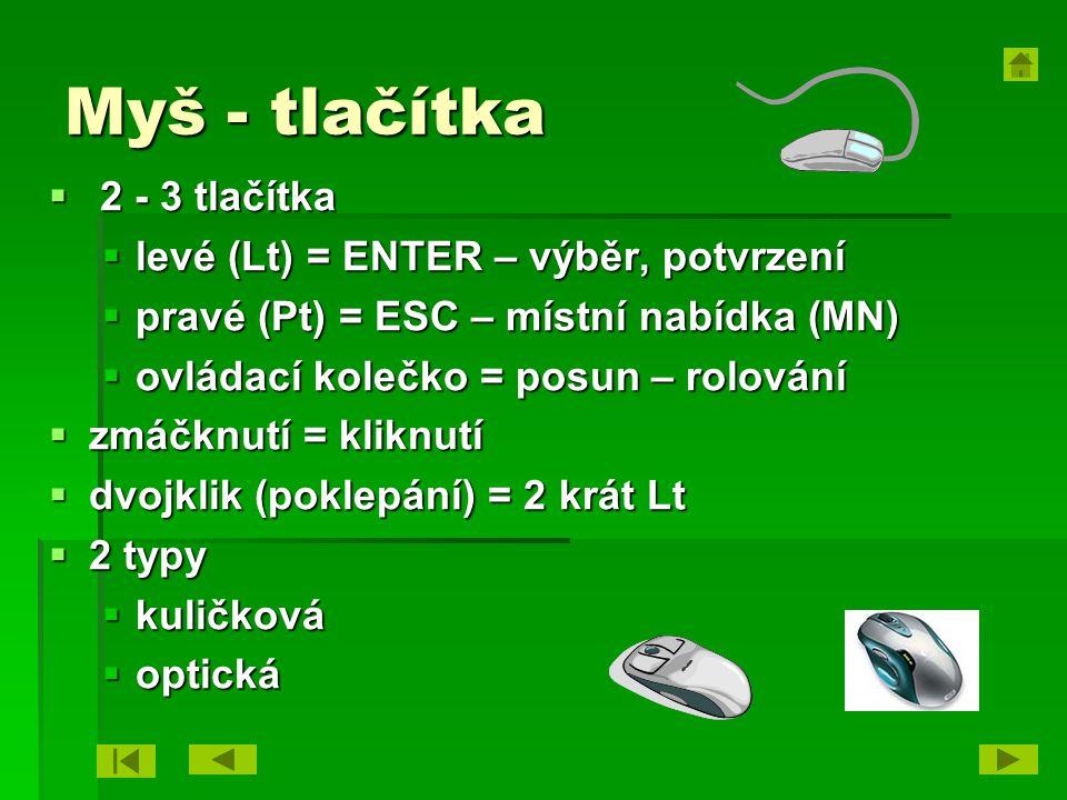 Myš - tlačítka 2 - 3 tlačítka levé (Lt) = ENTER – výběr, potvrzení