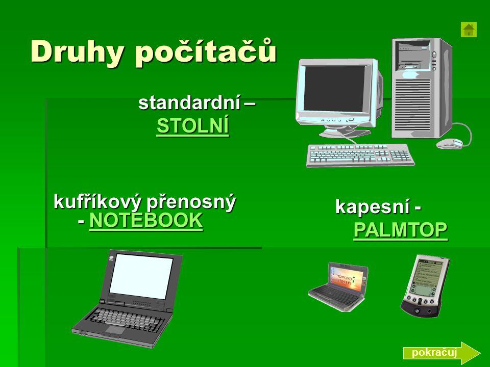 Druhy počítačů standardní – STOLNÍ kufříkový přenosný - NOTEBOOK