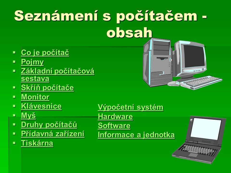 Seznámení s počítačem - obsah