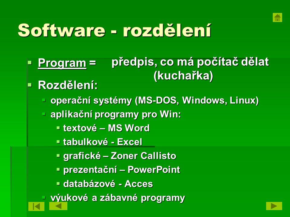 Software - rozdělení předpis, co má počítač dělat (kuchařka) Program =