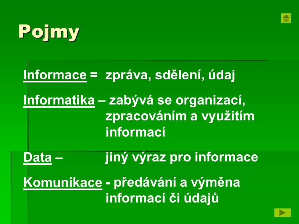 Pojmy Informace = Informatika – Data – Komunikace -