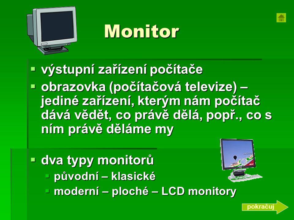 Monitor výstupní zařízení počítače