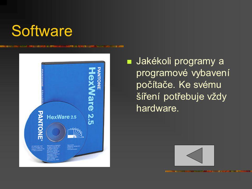 Software Jakékoli programy a programové vybavení počítače. Ke svému šíření potřebuje vždy hardware.