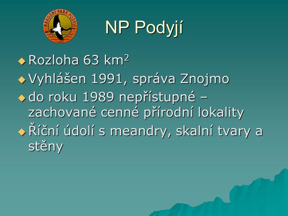 NP Podyjí Rozloha 63 km2 Vyhlášen 1991, správa Znojmo