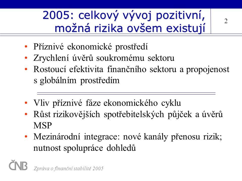 2005: celkový vývoj pozitivní, možná rizika ovšem existují