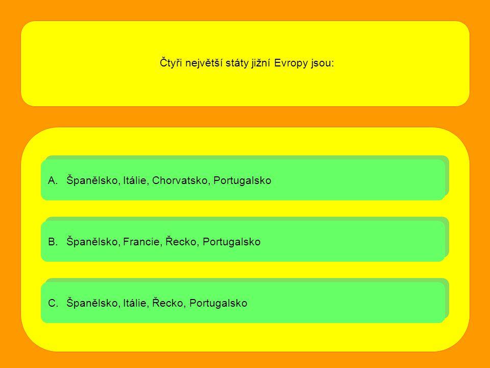 Čtyři největší státy jižní Evropy jsou: