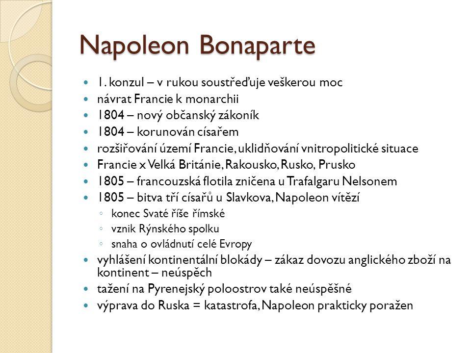 Napoleon Bonaparte 1. konzul – v rukou soustřeďuje veškerou moc