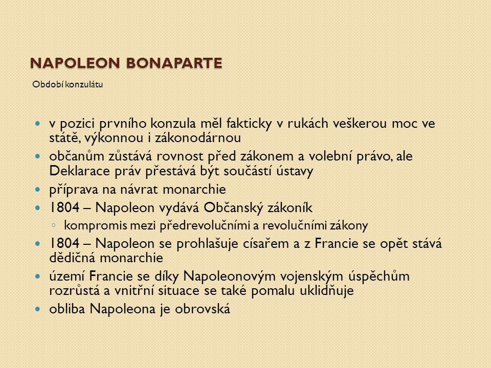 příprava na návrat monarchie 1804 – Napoleon vydává Občanský zákoník