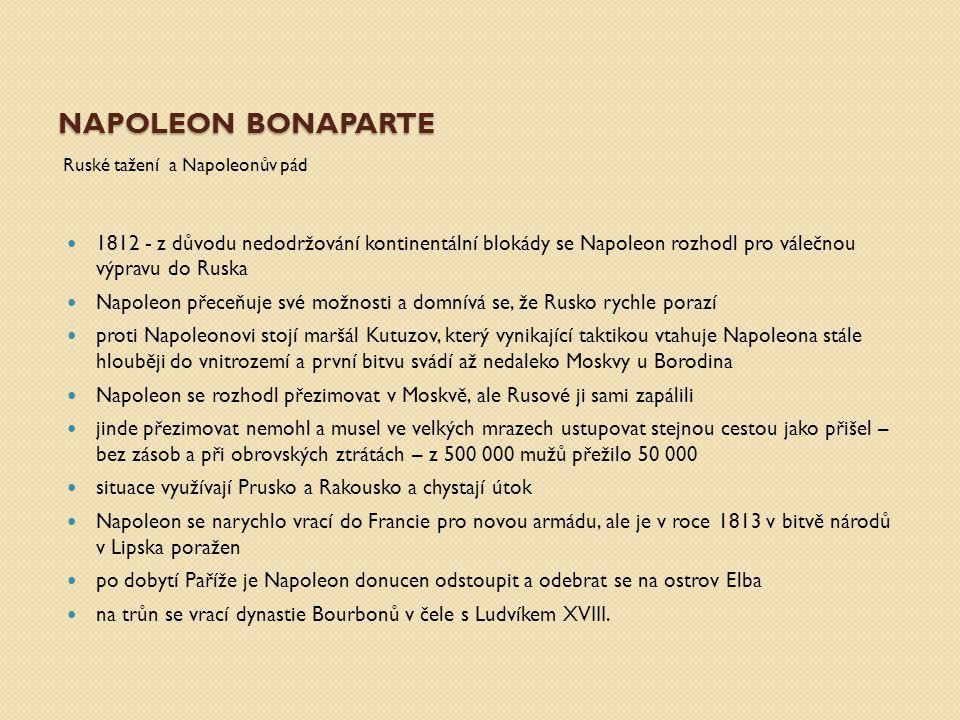 Napoleon Bonaparte Ruské tažení a Napoleonův pád.