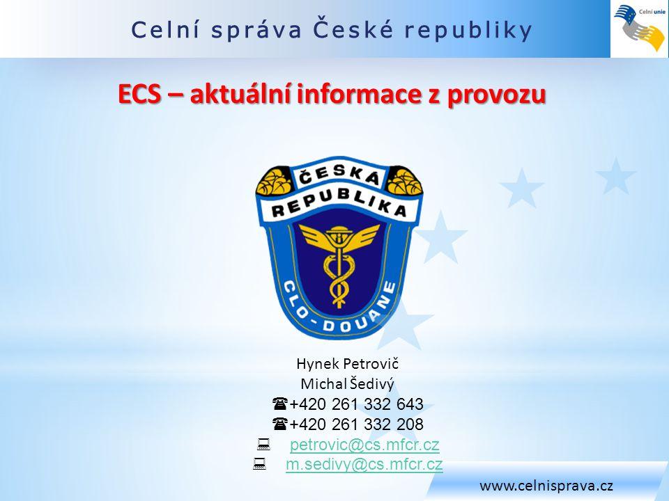 ECS – aktuální informace z provozu