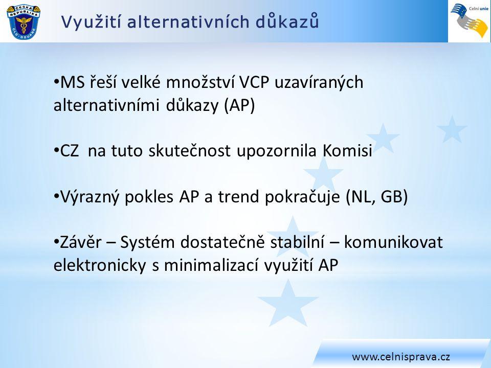 MS řeší velké množství VCP uzavíraných alternativními důkazy (AP)