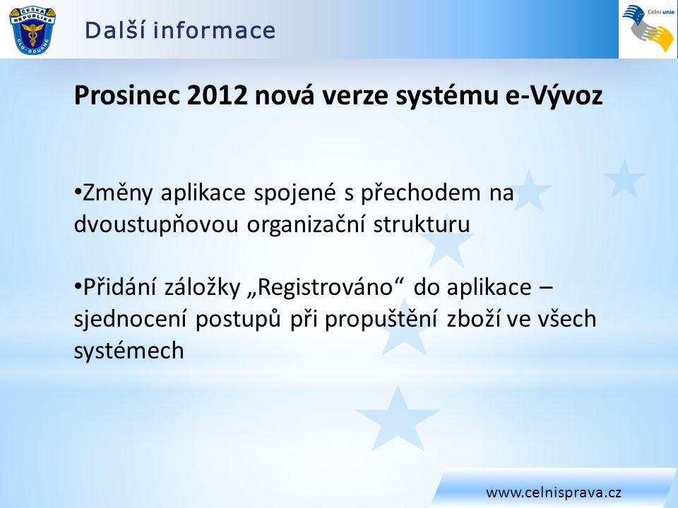 Prosinec 2012 nová verze systému e-Vývoz