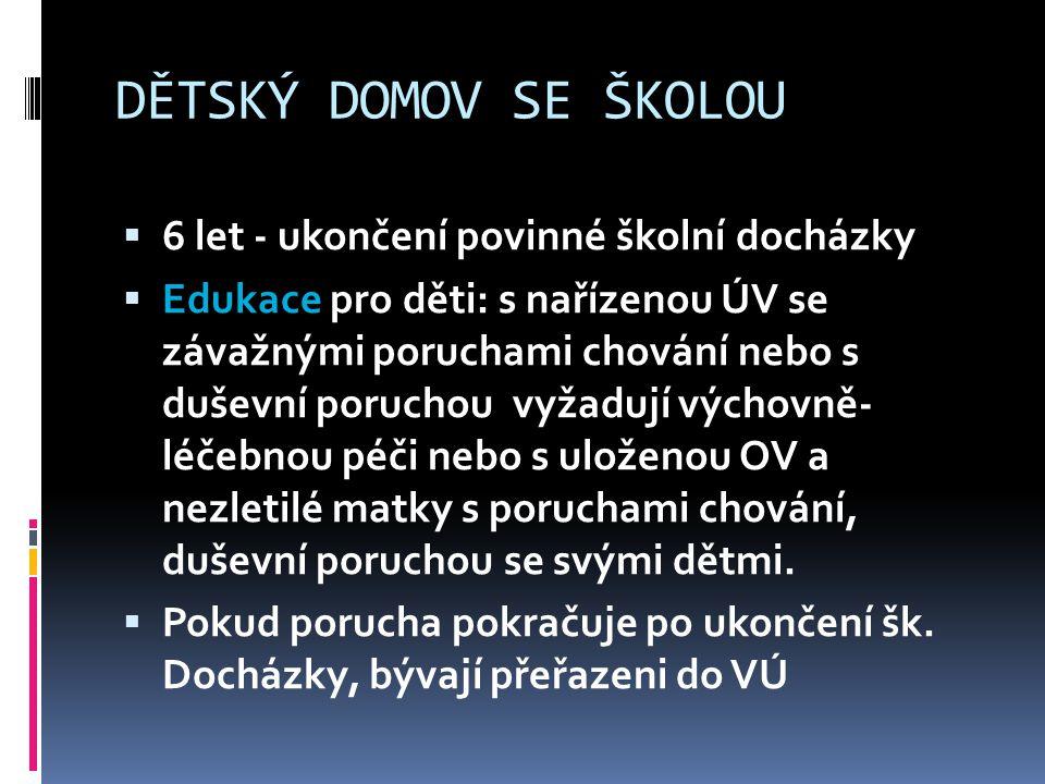 DĚTSKÝ DOMOV SE ŠKOLOU 6 let - ukončení povinné školní docházky