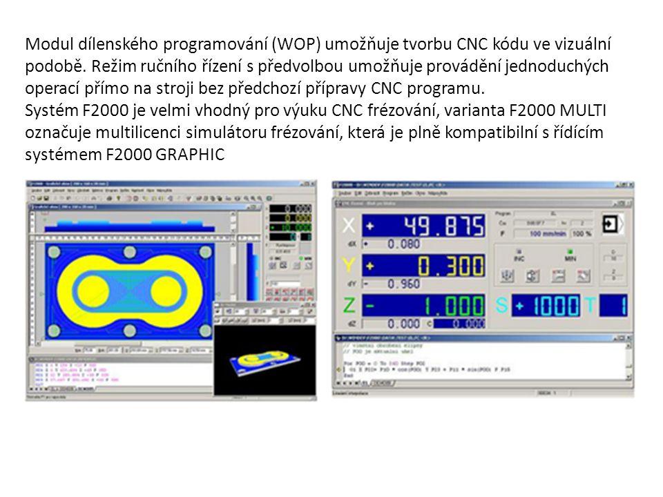 Modul dílenského programování (WOP) umožňuje tvorbu CNC kódu ve vizuální podobě. Režim ručního řízení s předvolbou umožňuje provádění jednoduchých operací přímo na stroji bez předchozí přípravy CNC programu.
