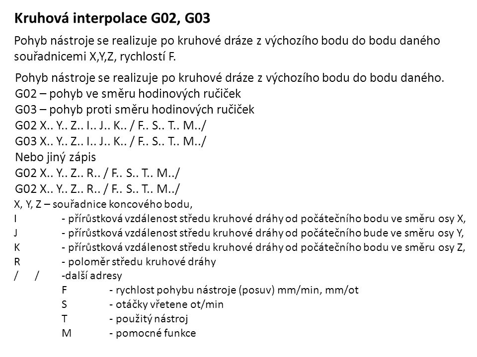 Kruhová interpolace G02, G03