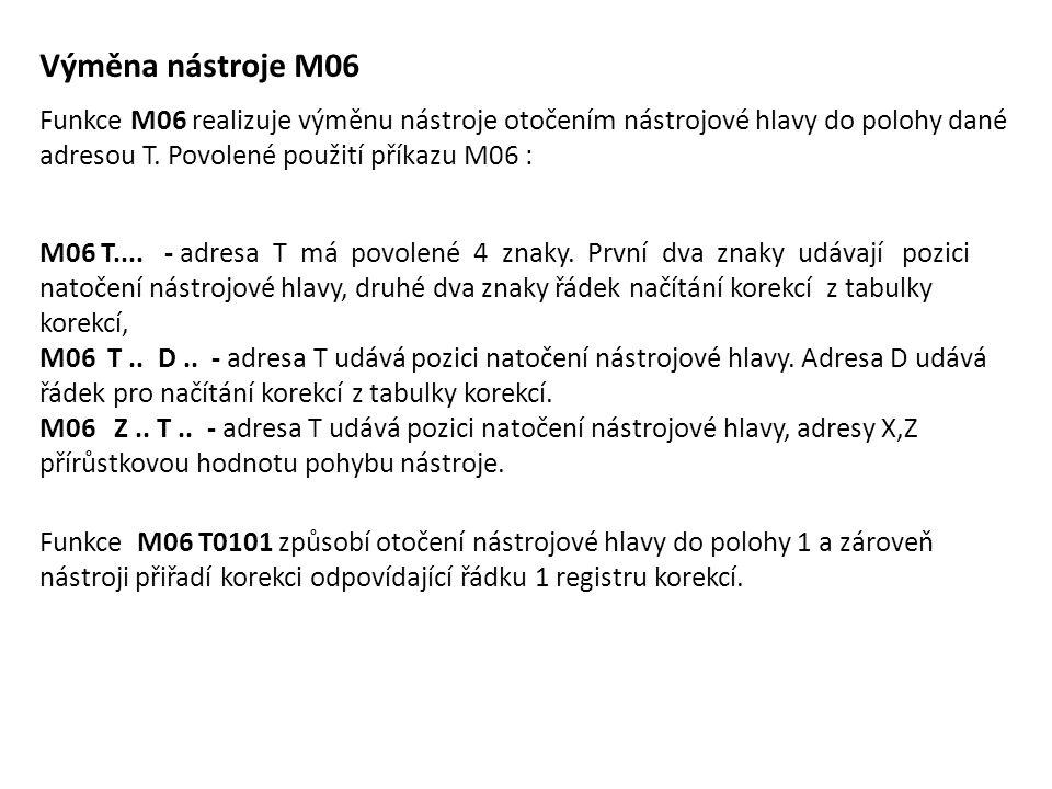Výměna nástroje M06 Funkce M06 realizuje výměnu nástroje otočením nástrojové hlavy do polohy dané adresou T. Povolené použití příkazu M06 :