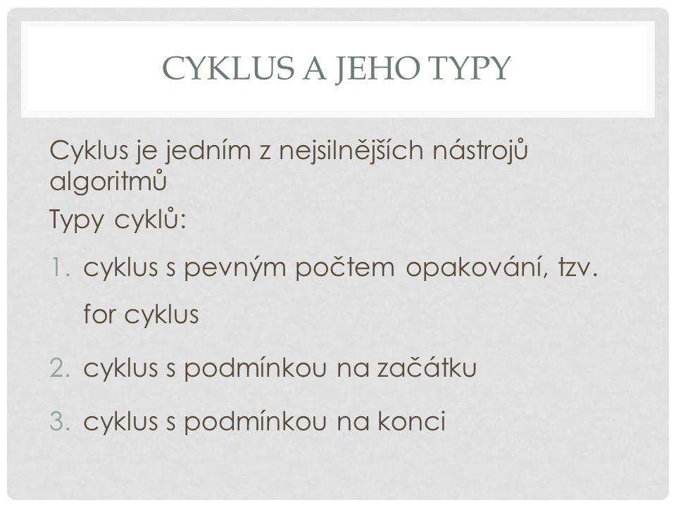 cyklus a jeho typy Cyklus je jedním z nejsilnějších nástrojů algoritmů