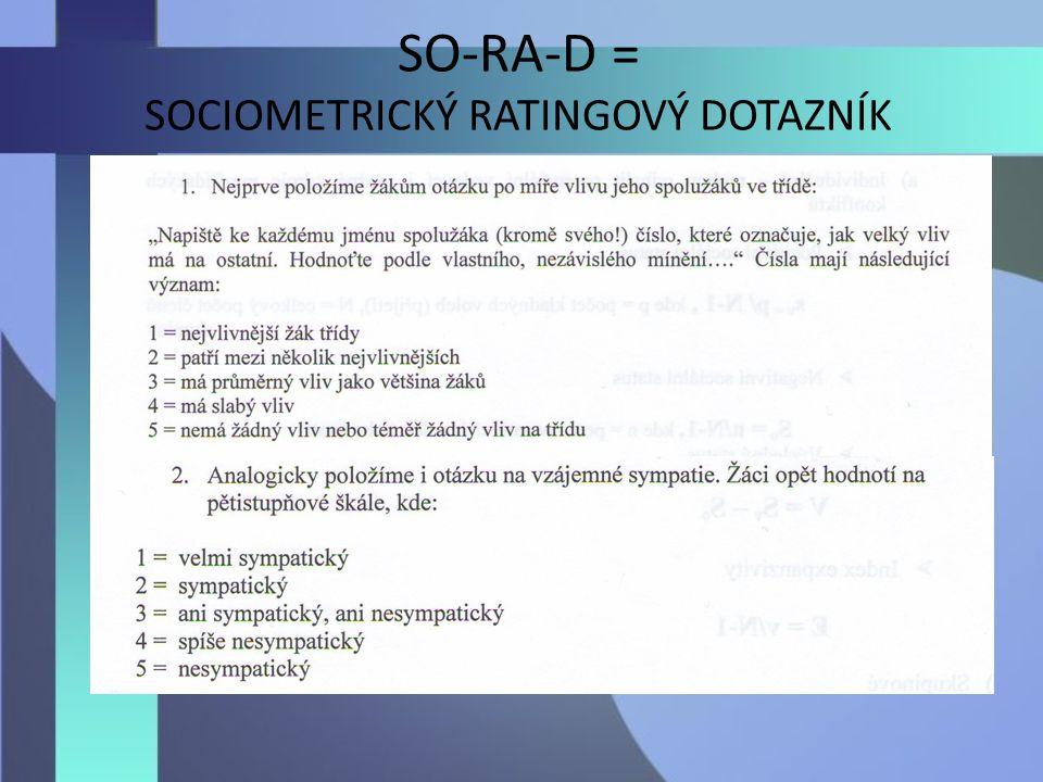 SO-RA-D = SOCIOMETRICKÝ RATINGOVÝ DOTAZNÍK
