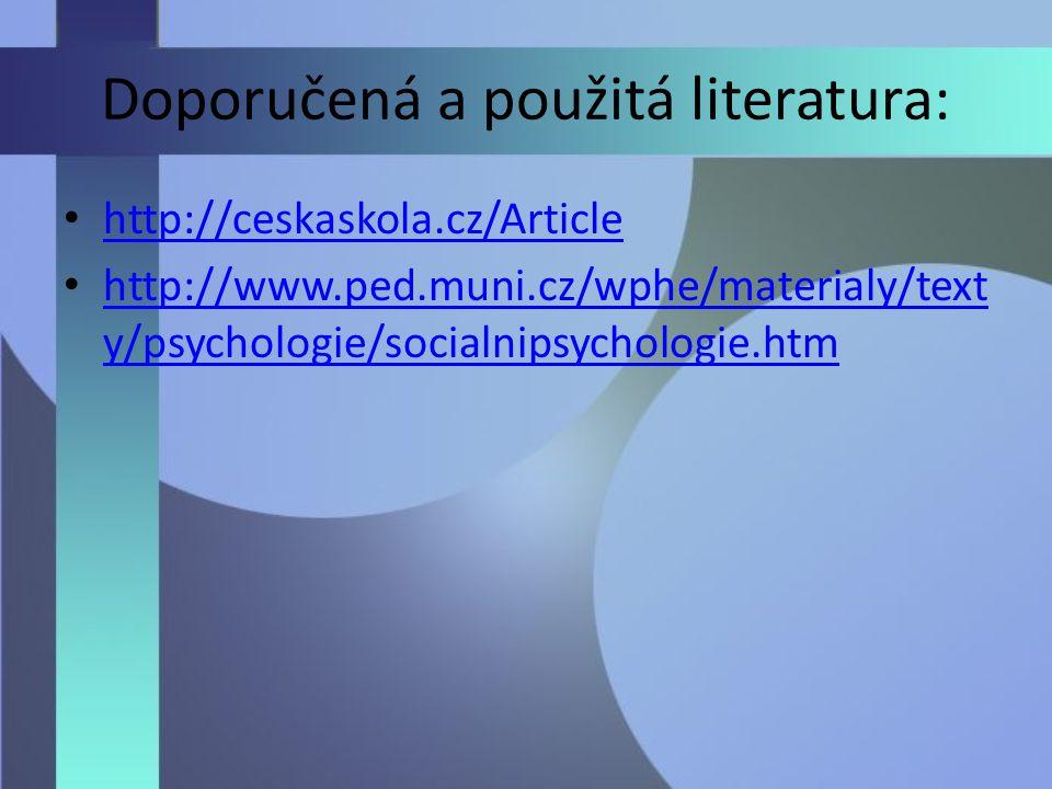 Doporučená a použitá literatura: