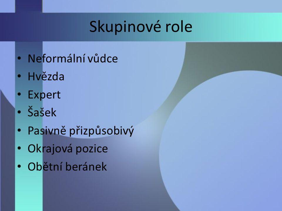 Skupinové role Neformální vůdce Hvězda Expert Šašek