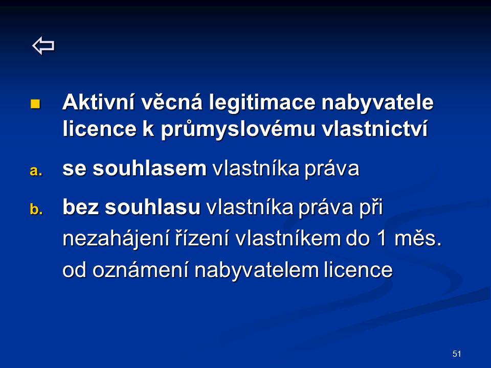  Aktivní věcná legitimace nabyvatele licence k průmyslovému vlastnictví. se souhlasem vlastníka práva.