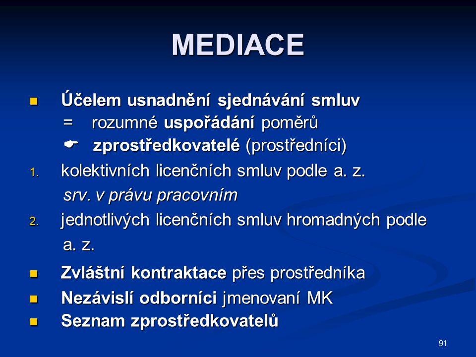MEDIACE Účelem usnadnění sjednávání smluv = rozumné uspořádání poměrů