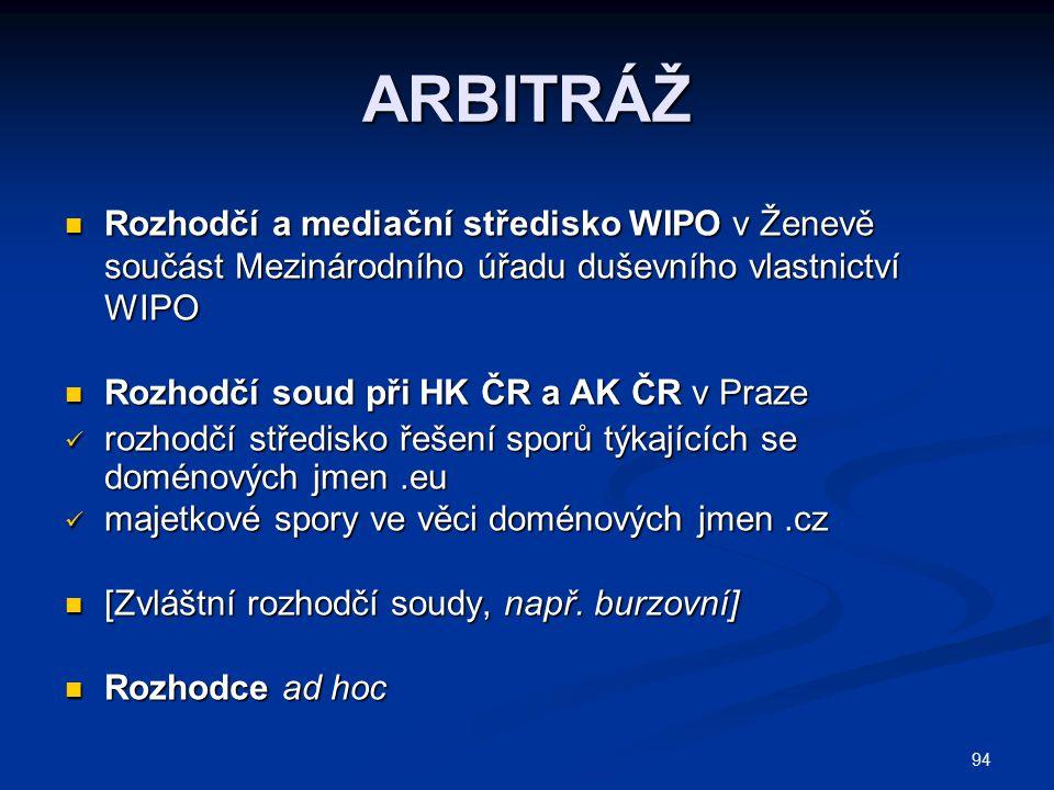 ARBITRÁŽ Rozhodčí a mediační středisko WIPO v Ženevě součást Mezinárodního úřadu duševního vlastnictví WIPO.