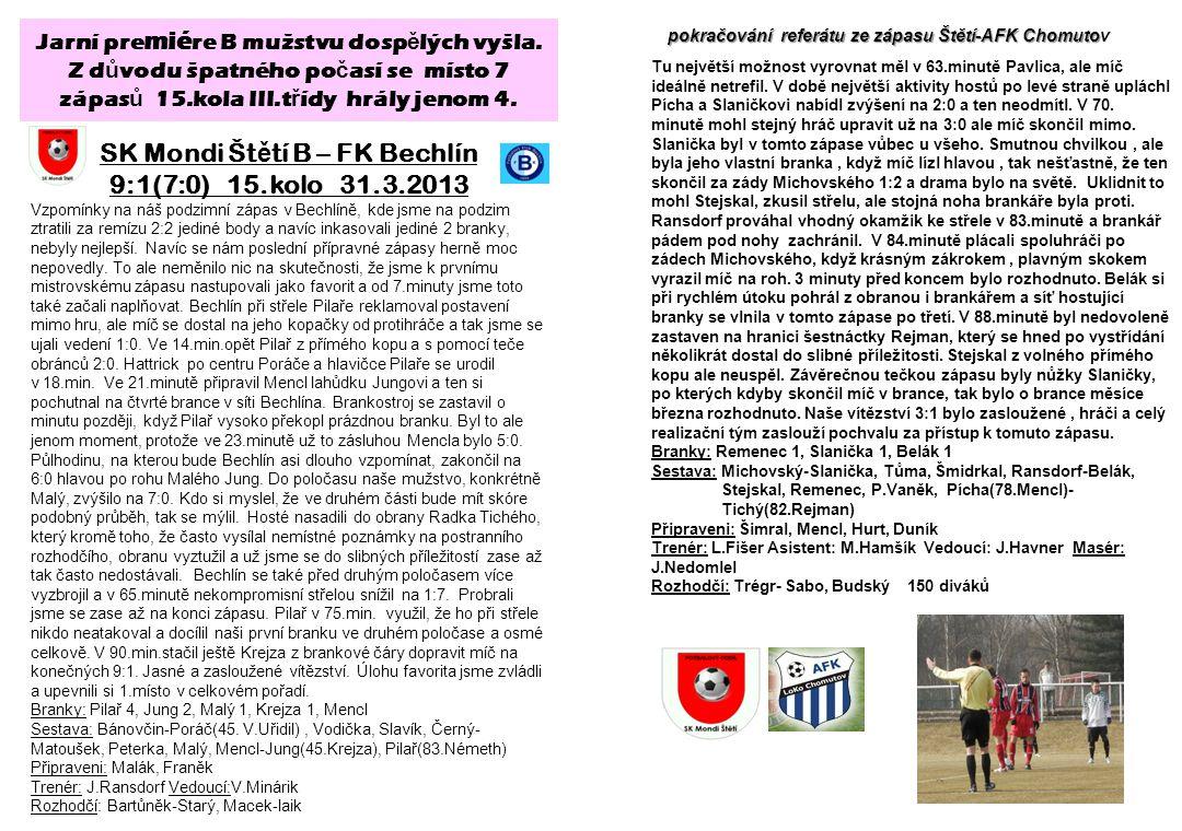 SK Mondi Štětí B – FK Bechlín 9:1(7:0) 15.kolo 31.3.2013