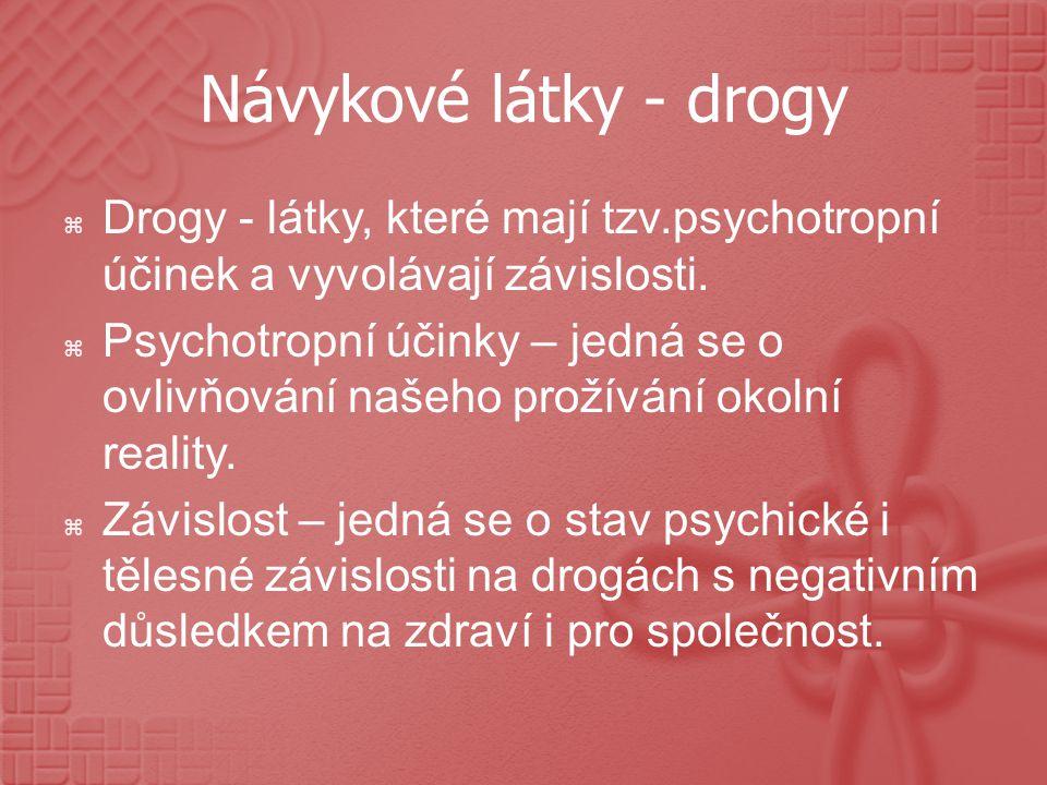 Návykové látky - drogy Drogy - látky, které mají tzv.psychotropní účinek a vyvolávají závislosti.