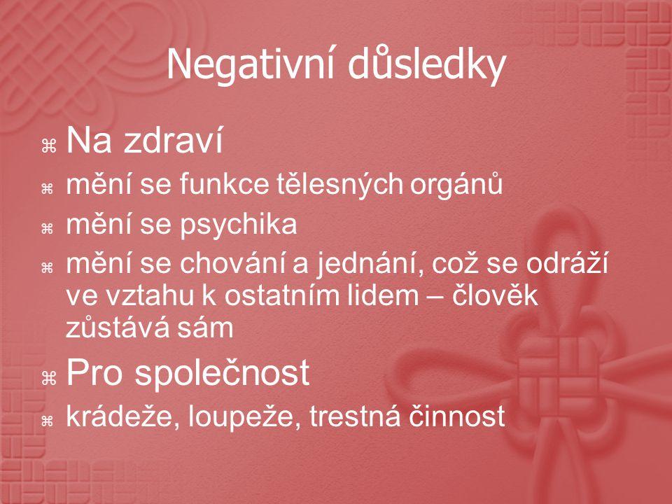 Negativní důsledky Na zdraví Pro společnost