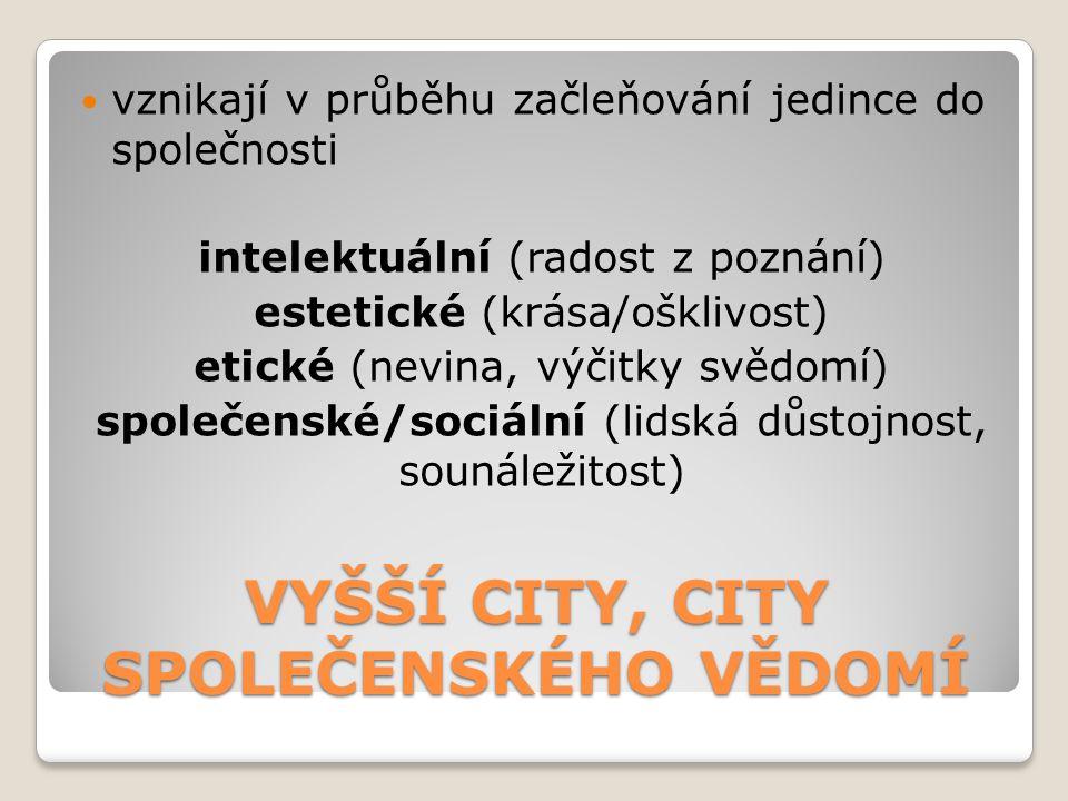 VYŠŠÍ CITY, CITY SPOLEČENSKÉHO VĚDOMÍ