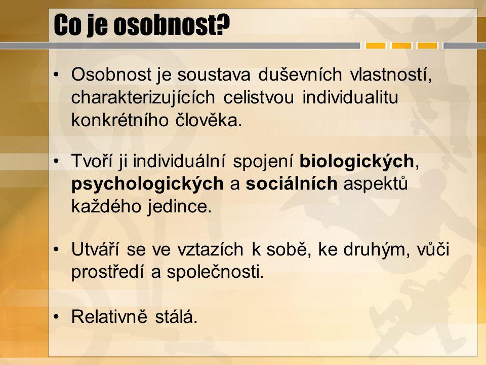 Co je osobnost Osobnost je soustava duševních vlastností, charakterizujících celistvou individualitu konkrétního člověka.