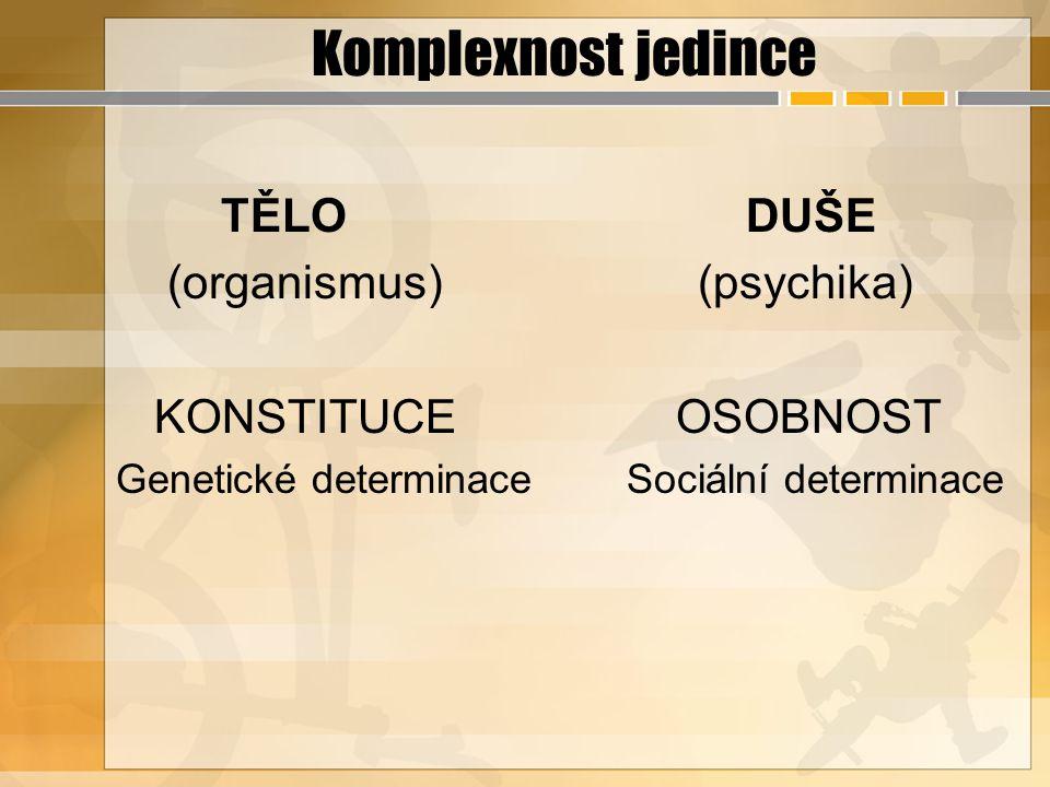 Komplexnost jedince TĚLO DUŠE (organismus) (psychika)