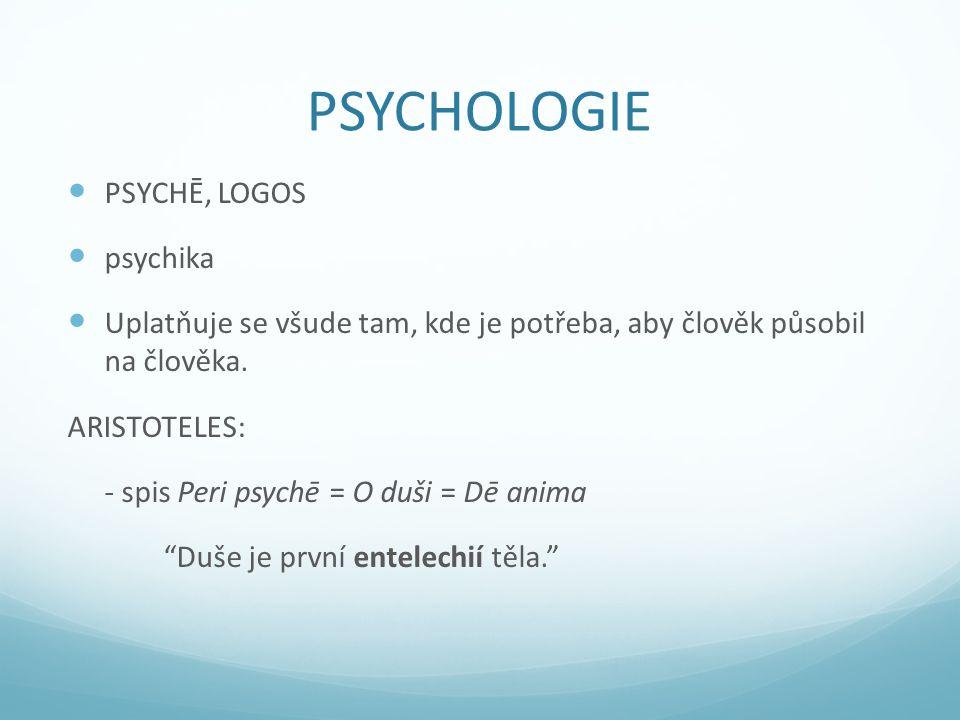 PSYCHOLOGIE PSYCHĒ, LOGOS psychika