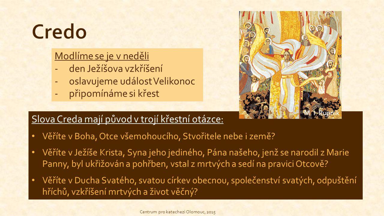 Credo Modlíme se je v neděli den Ježíšova vzkříšení