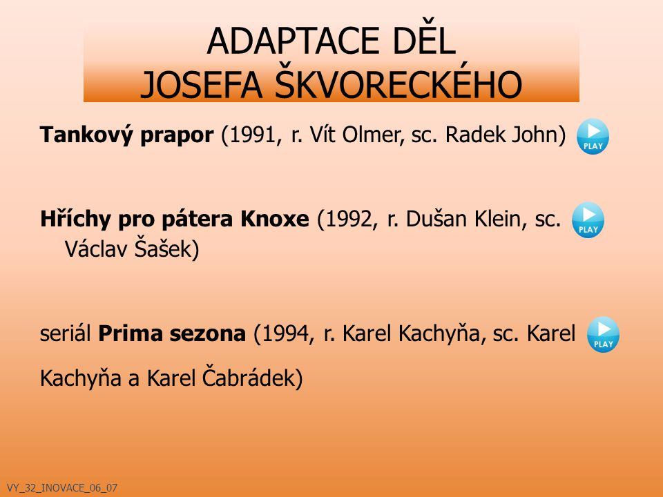 ADAPTACE DĚL JOSEFA ŠKVORECKÉHO