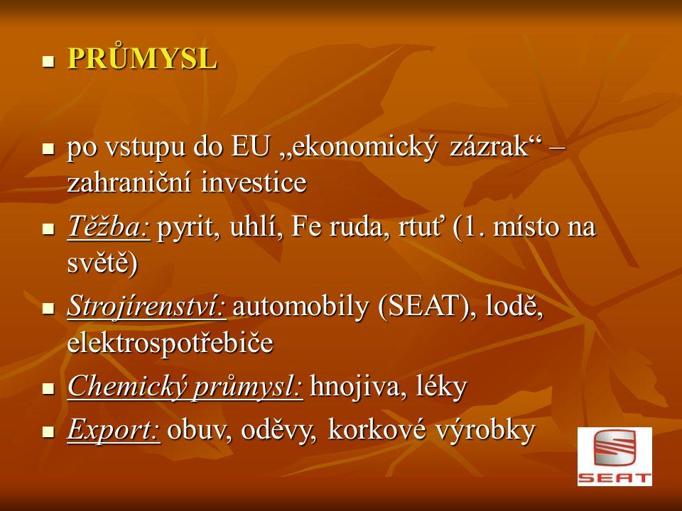 """PRŮMYSL po vstupu do EU """"ekonomický zázrak – zahraniční investice. Těžba: pyrit, uhlí, Fe ruda, rtuť (1. místo na světě)"""