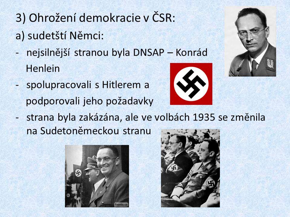 3) Ohrožení demokracie v ČSR: