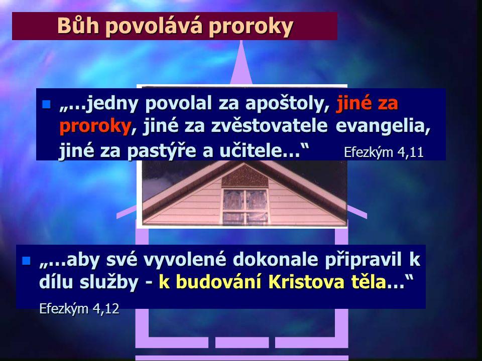 """Bůh povolává proroky """"…jedny povolal za apoštoly, jiné za proroky, jiné za zvěstovatele evangelia, jiné za pastýře a učitele… Efezkým 4,11."""