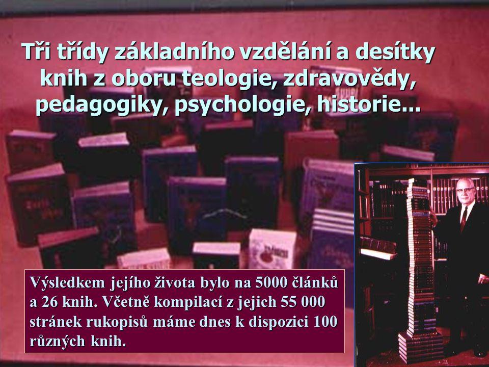 Tři třídy základního vzdělání a desítky knih z oboru teologie, zdravovědy, pedagogiky, psychologie, historie...