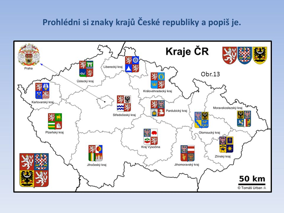 Prohlédni si znaky krajů České republiky a popiš je.